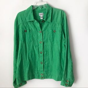Chico's Green 100% Linen Lightweight Jacket 3 / XL